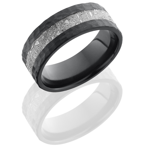 Black Zirconium 8mm Meteorite Flat Ring with Hammered Finish