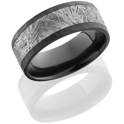 Black Zirconium 8mm Meteorite Ring with Hammer Finish