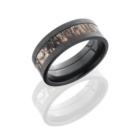 8mm Mossy Oak Black Zirconium Camo Ring with Satin Finish