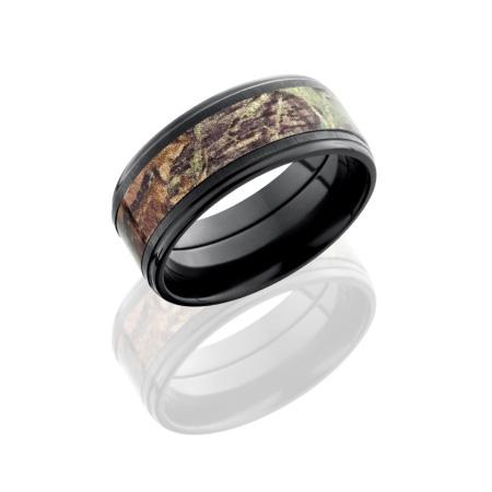 9mm Mossy Oak Black Zirconium Camo Ring with Flat Edges