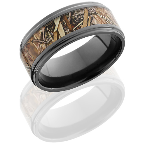 9mm Black Zirconium King's Field Shadow Camo Ring with Grooved Edges