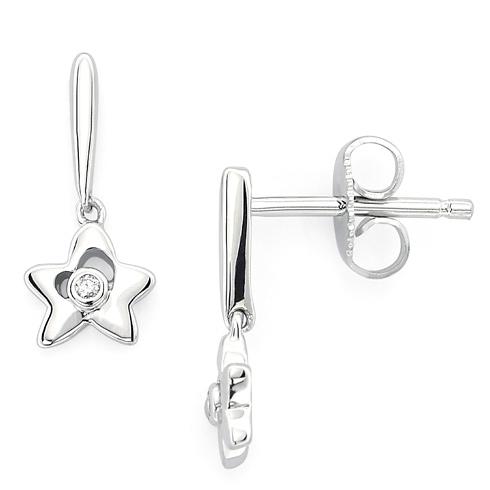 Little Diva Kid's Star Earrings with Diamonds