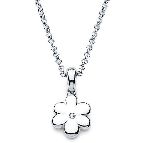 Little Diva Kid's Flower Pendant with Diamond Accent
