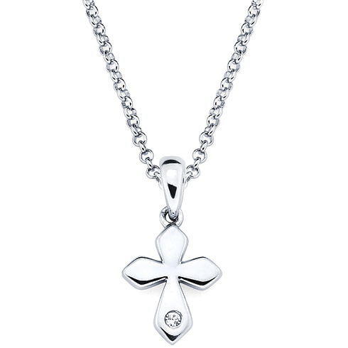 Little Diva Kid's Cross Pendant with Diamond Accent