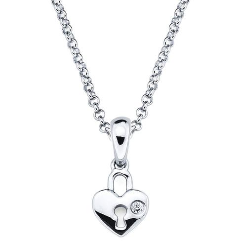 Little Diva Kid's Heart Locket Pendant with Diamond Accent