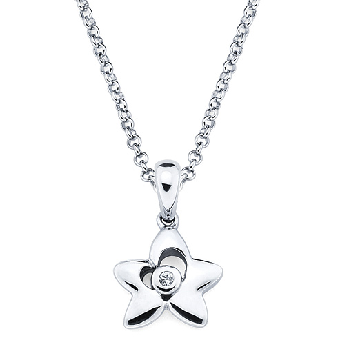 Little Diva Kid's Star Pendant with Diamond Accent