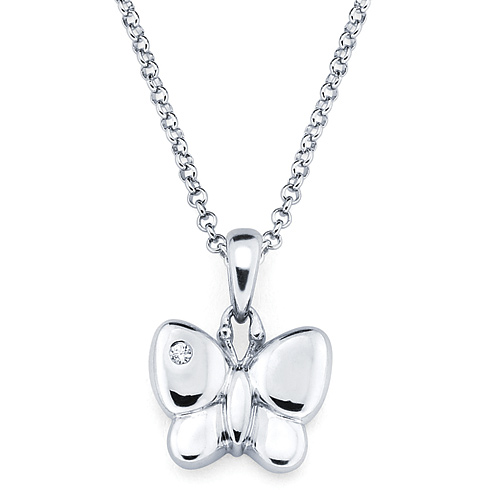 Little Diva Kid's Butterfly Pendant with Diamond Accent