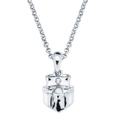 Little Diva Kid's Present Pendant with Diamond Accent