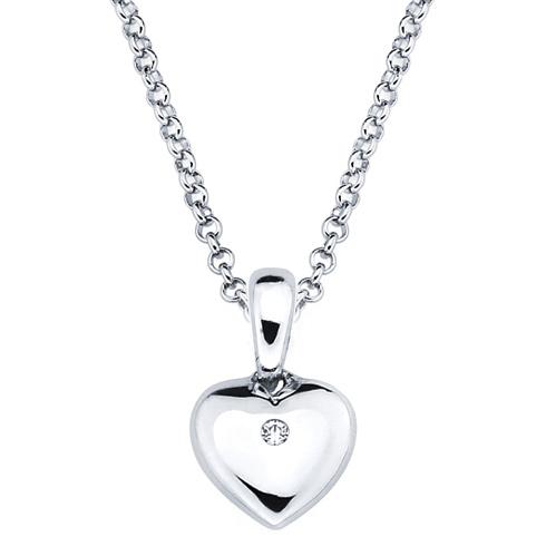 Little Diva Kid's Heart Pendant with Diamond Accent