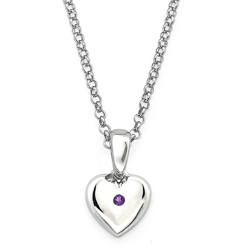 Little Diva Kid's Heart Pendant with Amethyst Accent