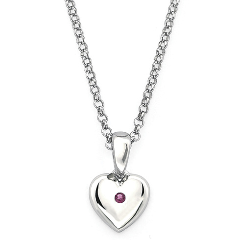 Little Diva Kid's Heart Pendant with Created Alexandrite Accent