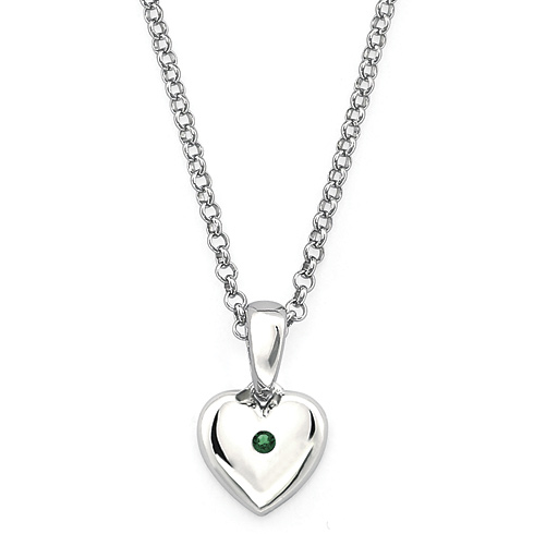Little Diva Kid's Heart Pendant with Created Emerald Accent