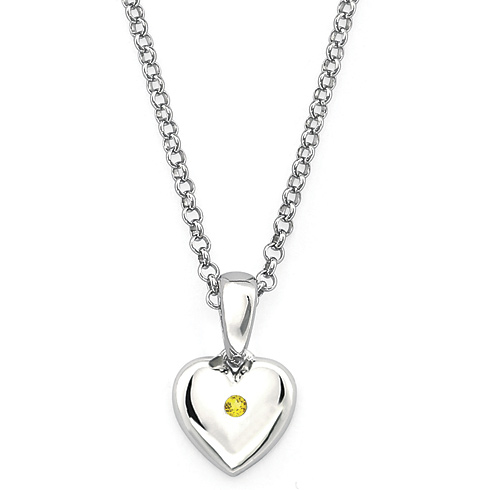 Little Diva Kid's Heart Pendant with Citrine Accent
