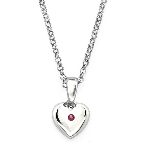 Little Diva Kid's Heart Pendant with Created Ruby Accent