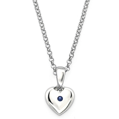Little Diva Kid's Heart Pendant with Created Sapphire Accent