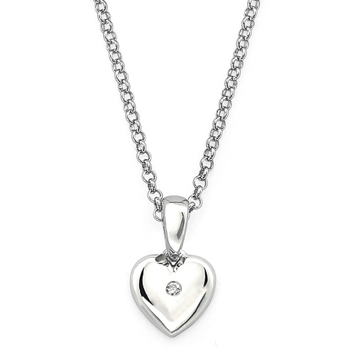 Little Diva Kid's Heart Pendant with Cubic Zirconia Accent