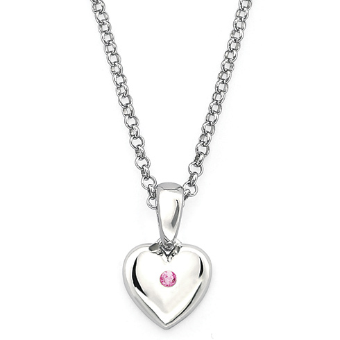 Little Diva Kid's Heart Pendant with Pink Tourmaline Accent