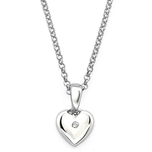 Little Diva Kid's Heart Pendant with White Sapphire Accent