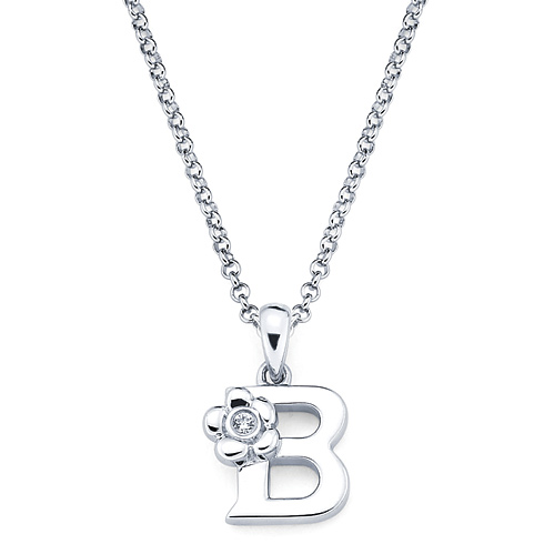 Little Diva Kid's Letter B Pendant with Diamond Accent
