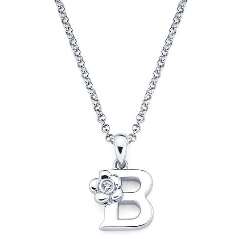 Little Diva Kid's Letter B Pendant with Diamond Accent