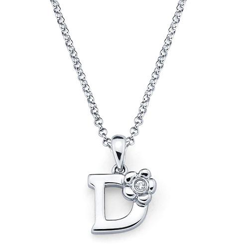 Little Diva Kid's Letter D Pendant with Diamond Accent