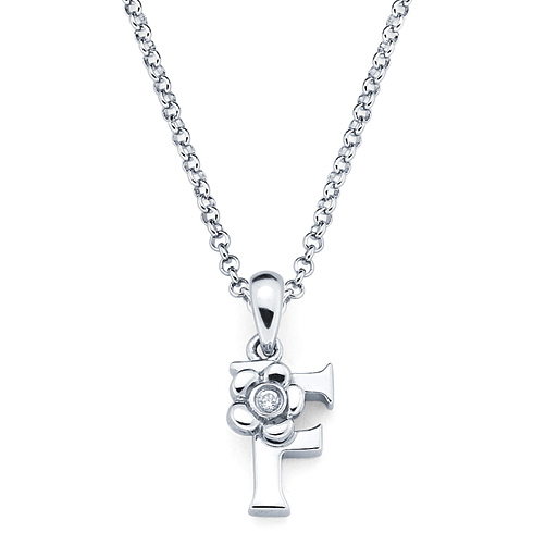 Little Diva Kid's Letter F Pendant with Diamond Accent