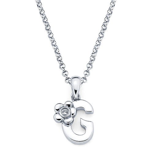 Little Diva Kid's Letter G Pendant with Diamond Accent