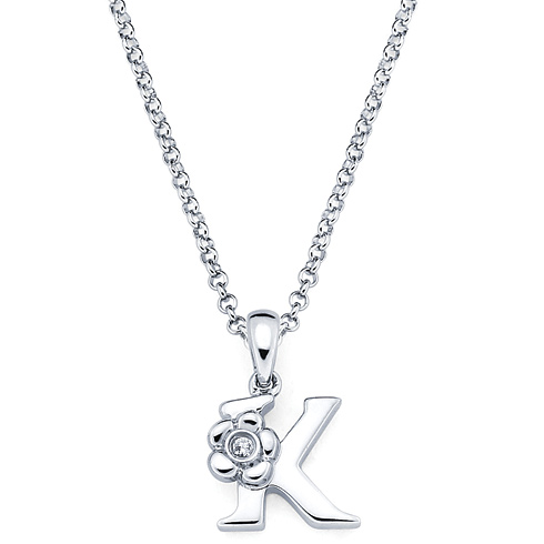 Little Diva Kid's Letter K Pendant with Diamond Accent