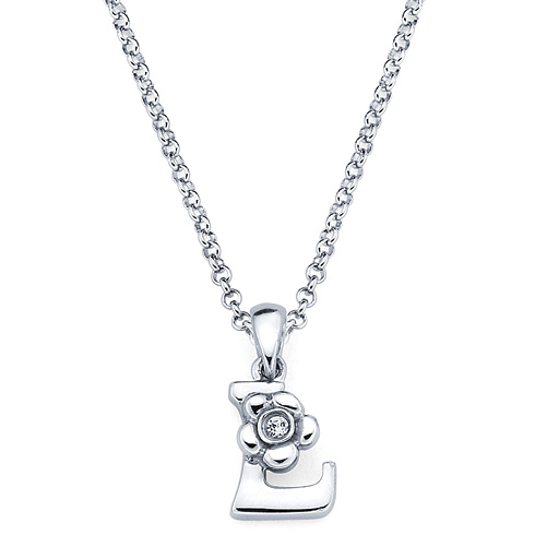 Little Diva Kid's Letter L Pendant with Diamond Accent