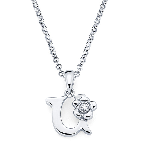 Little Diva Kid's Letter U Pendant with Diamond Accent