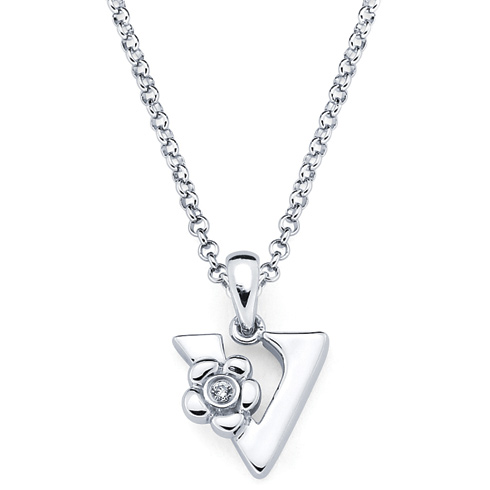 Little Diva Kid's Letter V Pendant with Diamond Accent