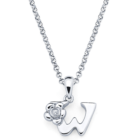 Little Diva Kid's Letter W Pendant with Diamond Accent