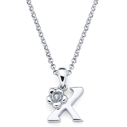 Little Diva Kid's Letter X Pendant with Diamond Accent