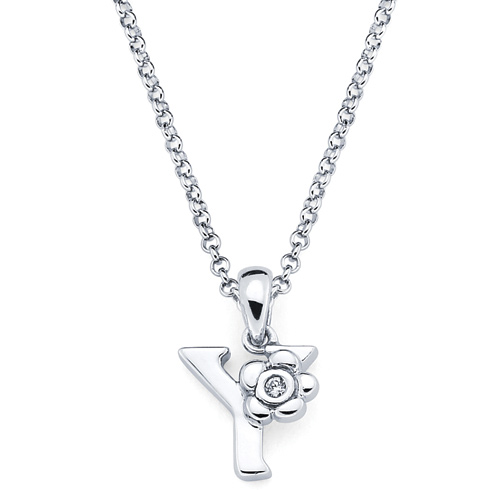 Little Diva Kid's Letter Y Pendant with Diamond Accent