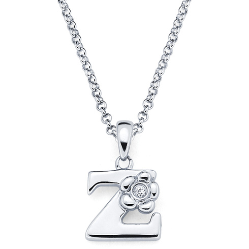 Little Diva Kid's Letter Z Pendant with Diamond Accent