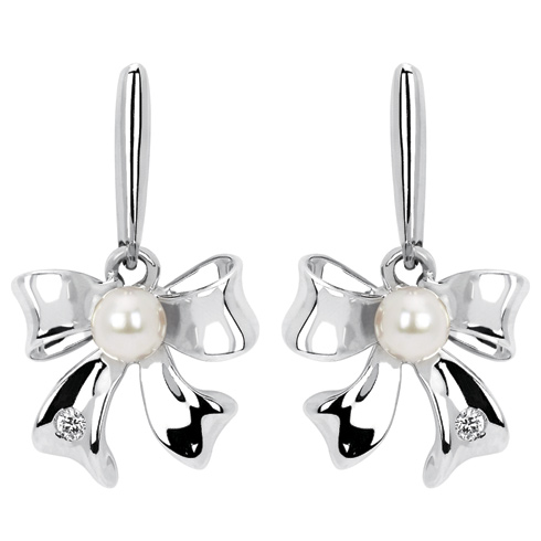 Little Diva Kid's Pearl Bow Earrings