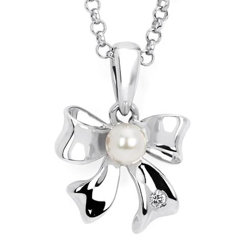 Little Diva Kid's Pearl Bow Pendant