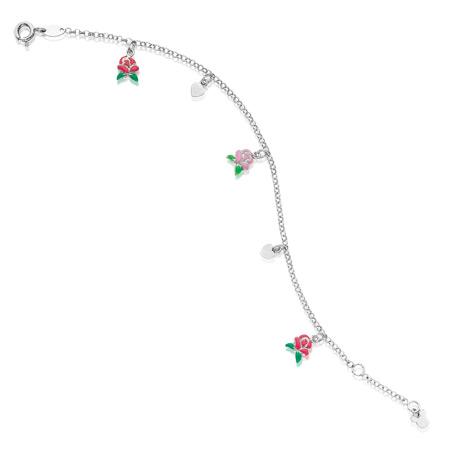 Sterling Silver Belle Rose Bracelet with Hearts