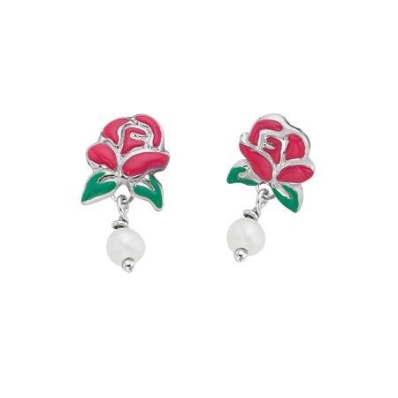 Belle Rose Stud Earrings Dangling Pearls - Sterling Silver