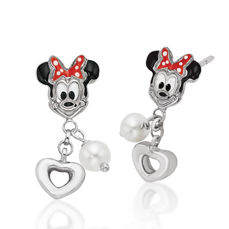 Minnie Earrings with Dangling Pearl & Heart - Sterling Silver