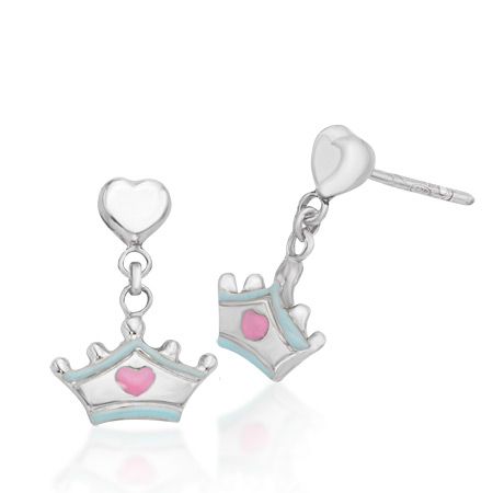 Cinderella Dangling Tiara Earrings - Sterling Silver