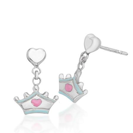 Cinderella Dangling Tiara Earrings - Sterling Silver