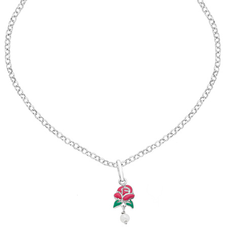 Belle Rose Necklace with Pearls - Sterling Silver