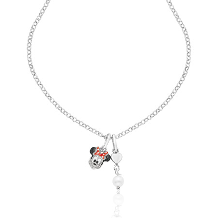Minnie Mouse Necklace with Pearl - Sterling Silver