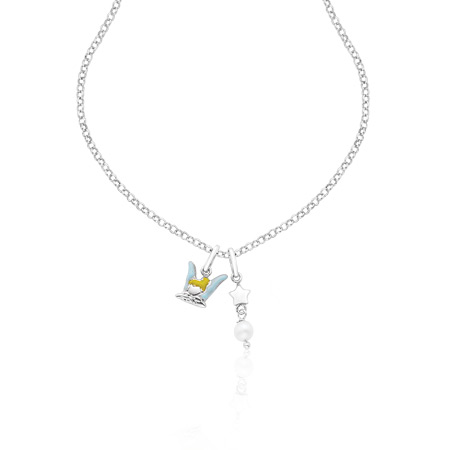Tinker Bell Necklace with Stars and Pearls - Sterling Silver
