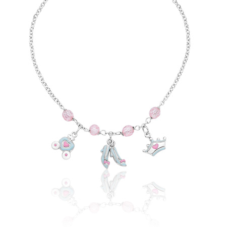 Cinderella Necklace with Pink Crystals - Sterling Silver