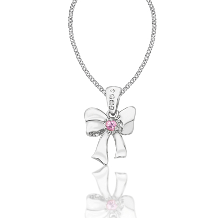 Snow White Bow on a 16in Adjustable Chain - Sterling Silver