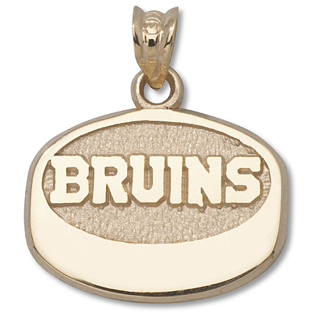 10kt Yellow Gold 1/2in Boston Bruins Puck Pendant