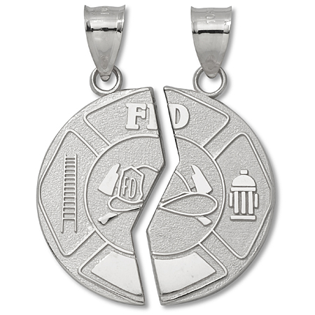 Sterling Silver 1in Mizpah Fire Dept Coin Pendant