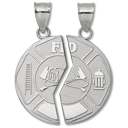 Sterling Silver 1in Mizpah Fire Dept Coin Pendant